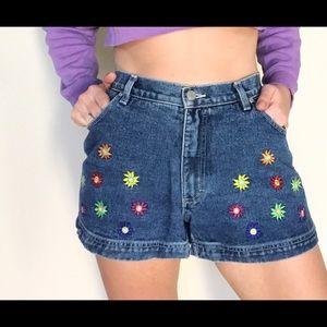 Y2K Floral Embroidered Denim Shorts 💐